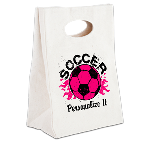 Personalized Soccer Flames Canvas Lunch Tote