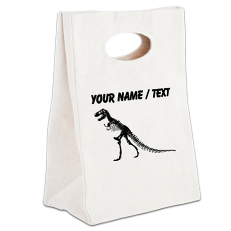 Custom T-Rex Skeleton Canvas Lunch Tote