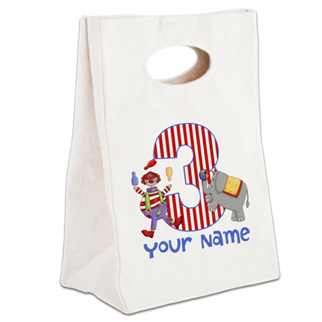 3rd Birthday Circus Canvas Lunch Tote