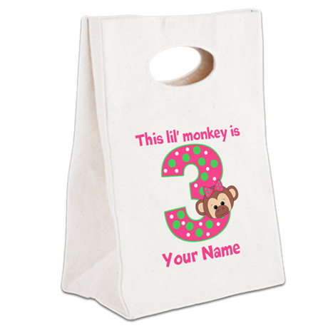 3rd Birthday Girl Monkey Canvas Lunch Tote