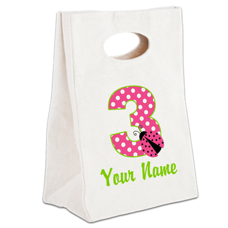 3rd Birthday Ladybug Pink Canvas Lunch Tote