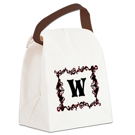 Monogram. Your Letter with Swirls Canvas Lunch Bag