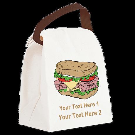 Sandwich. Custom Text. Canvas Lunch Bag