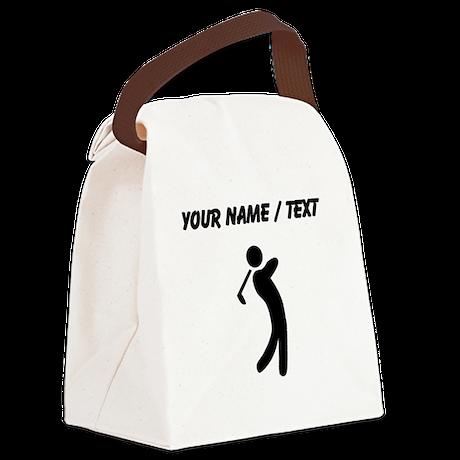 Custom Golfer Silhouette Canvas Lunch Bag