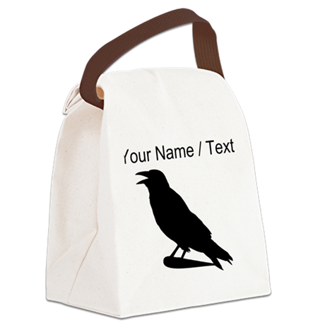 Custom Black Crow Silhouette Canvas Lunch Bag
