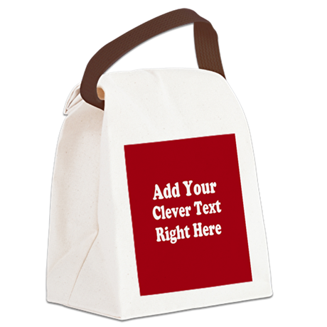 Add Text Background Red White Canvas Lunch Bag