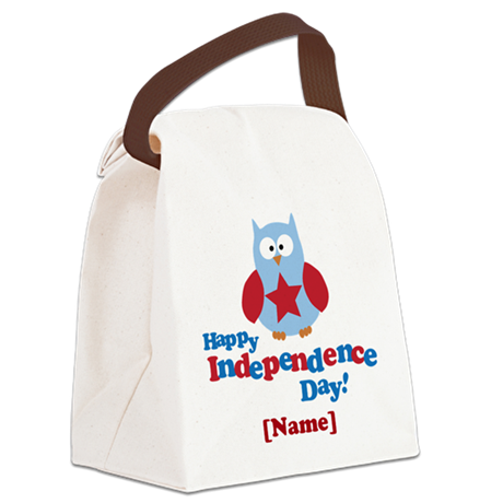 Personalized Happy Independence Day Owl Canvas Lun
