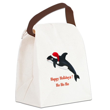 Personalized Christmas Whale Canvas Lunch Bag