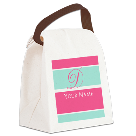 Pink and Teal Monogram Customized Canvas Lunch Bag