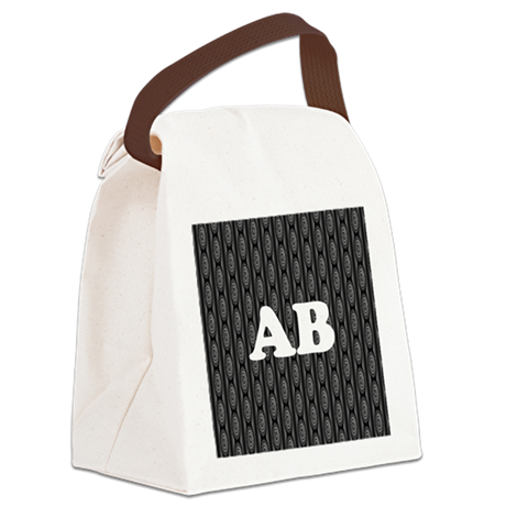 Custom Monogram with Gray Pattern Canvas Lunch Bag