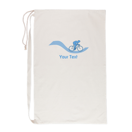 Cyclist in Blue. Custom Text. Laundry Bag