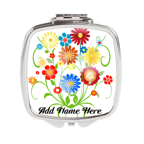 Personalized floral light Square Compact Mirror
