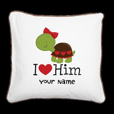 Personalized Valentine Turtle Square Canvas Pillow