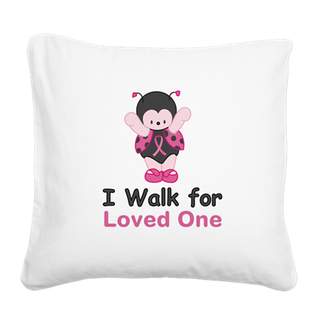 Walk For Ladybug Square Canvas Pillow