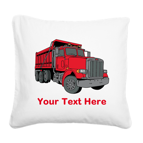 Big Red Truck with Text. Square Canvas Pillow by Saqtalarlia