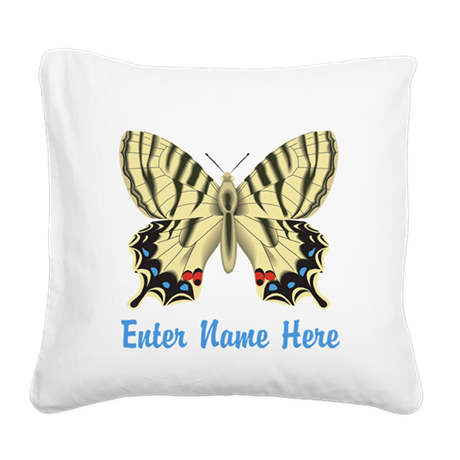 Personalized Butterfly Square Canvas Pillow