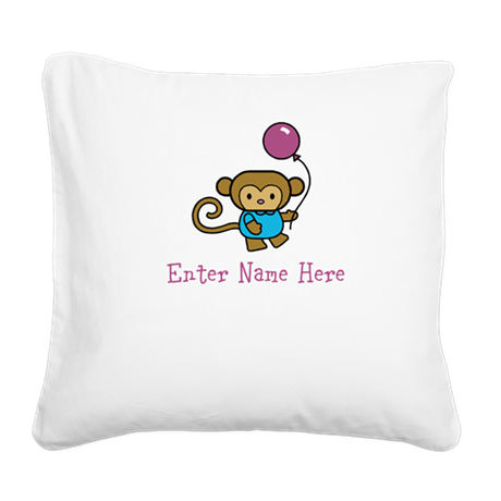 Personalized Monkey Square Canvas Pillow