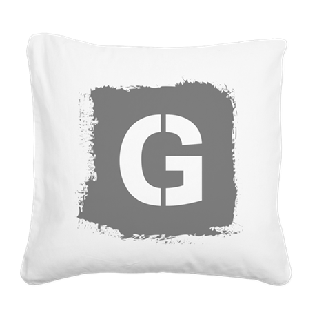 Initial Letter G. Square Canvas Pillow