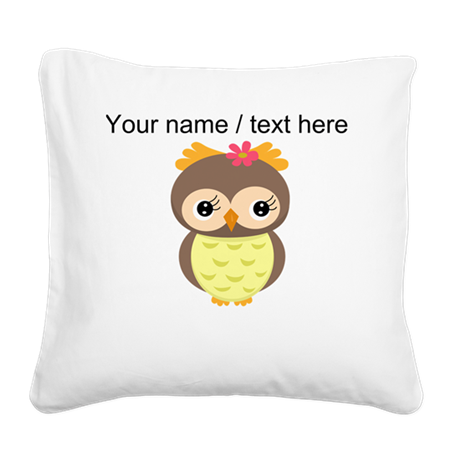 Custom Cartoon Owl Square Canvas Pillow