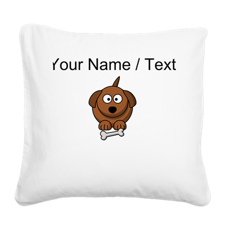 Custom Cartoon Dog With Bone Square Canvas Pillow