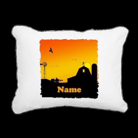 Sunrise at the Farm Rectangular Canvas Pillow