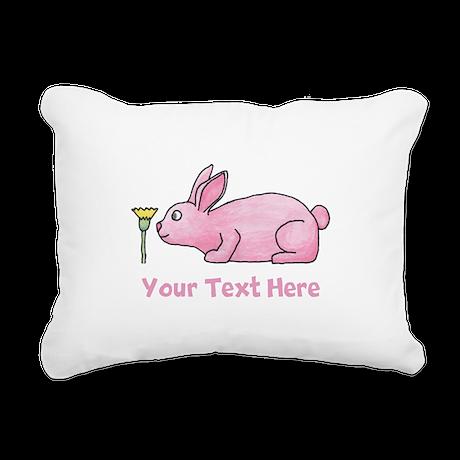 Pink Rabbit, Custom Text. Rectangular Canvas Pillo