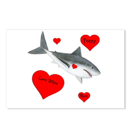 Personalized Shark Valentine Postcards (Package of