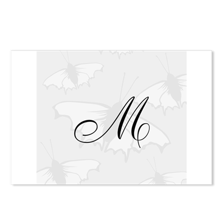 Custom Monogram Gray Butterfly Postcards (Package