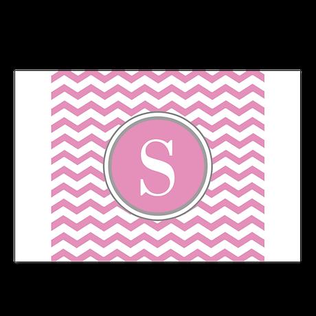 Any Letter, Pink White Gray Chevron Monogram Postc