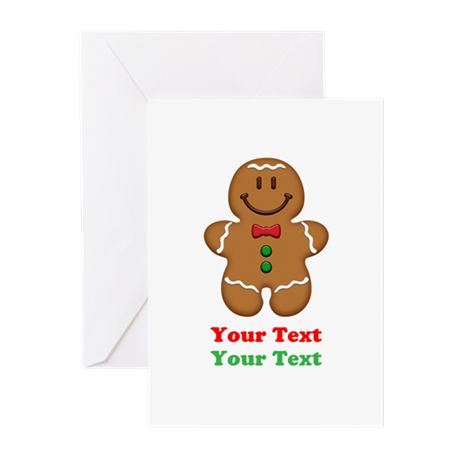 Personalize Little Gingerbread Man Greeting Cards