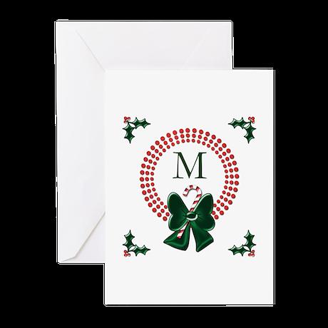 Dot Christmas Wreath Monogram Greeting Cards