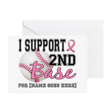 Second 2nd Base Breast Cancer Greeting Cards (Pk o