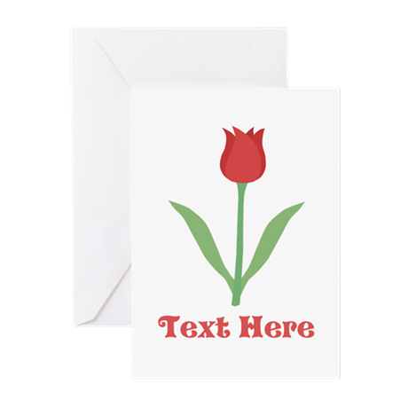 Dark Red Tulip and Text. Greeting Cards (Pk of 10)