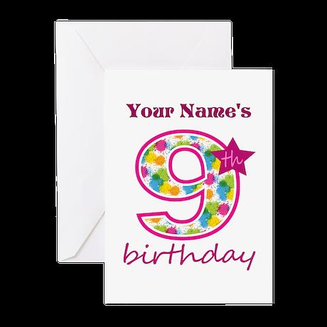 9th Birthday Splat - Per Greeting Cards (Pk of 10)