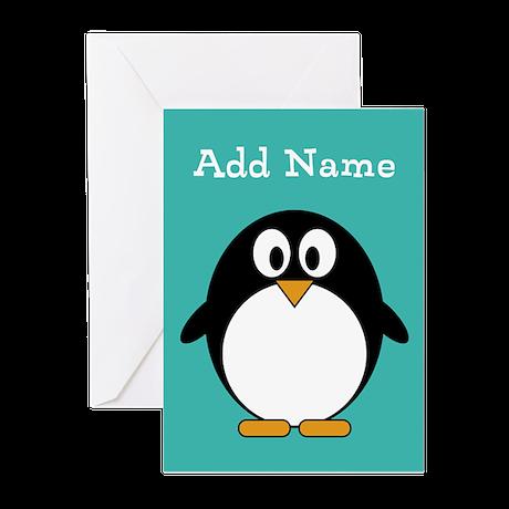 Modern Penguin Teal Greeting Cards