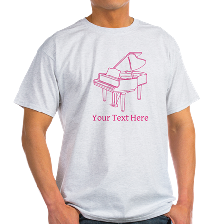 Pink Piano and Custom Text. Light T-Shirt