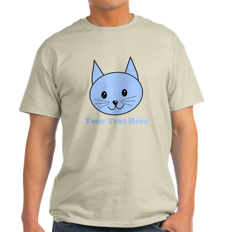 Blue Cat and Custom Text. T-Shirt