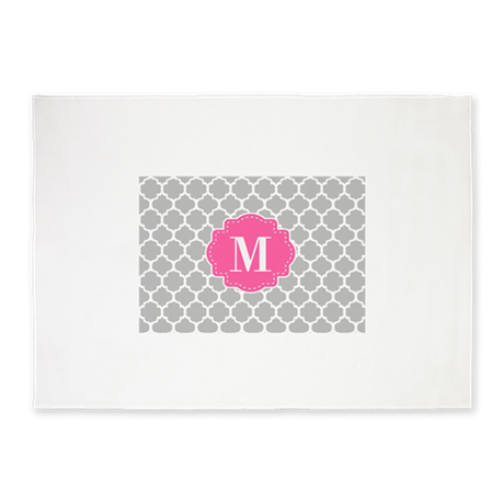 Gray Pink Quatrefoil Monogram 5'x7'Area Rug