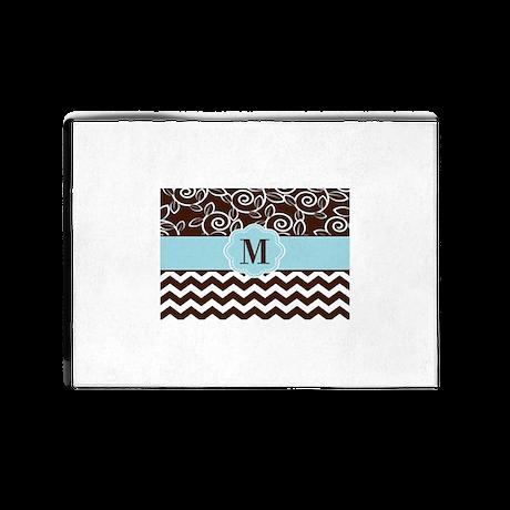 Brown Blue Chevron Damask Monogram 5'x7'Area Rug