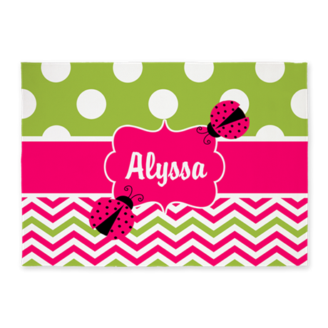 Pink Green Chevron Ladybug Personalized 5'x7'Area
