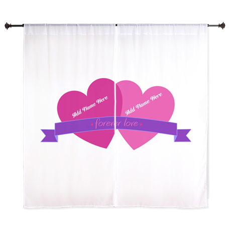 "Forever Love Heart Names 60"" Curtains"