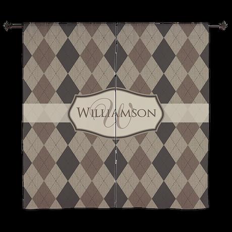 "Brown Argyle Monogram Name 60"" Curtains"
