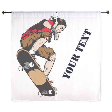 """Personalized Skateboarder 60"""" Curtains"""