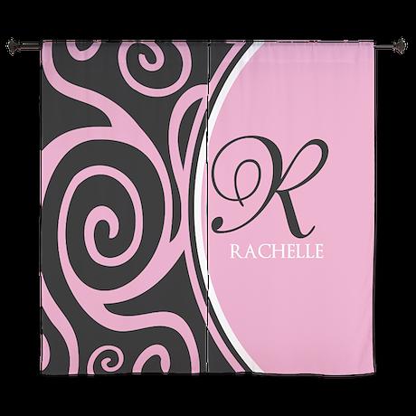 "Elegant Black Pink Swirls Monogram 60"" Curtains"
