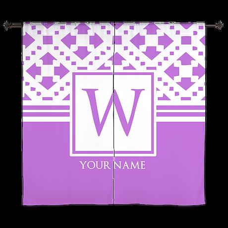 "Purple Monogram Personalized 60"" Curtains"