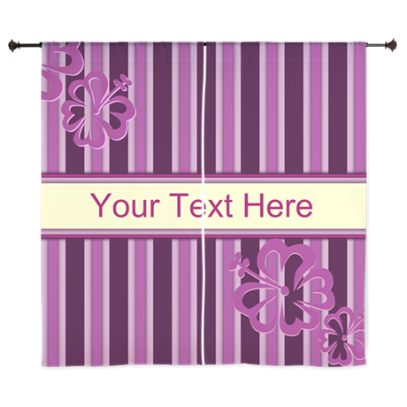 """Purple And Pink Stripe Hibiscus Personalized 60"""" C"""