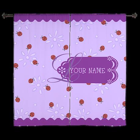 "Lavender Purple Lady Bug Monogram 60"" Curtains"