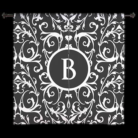 MONOGRAM Black And White Damask Pattern Curtains