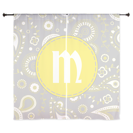 Whimsical Grey and Yellow Paisley Pattern Monogr C