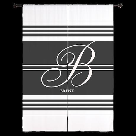 Black and White Stripe Monogram Curtains